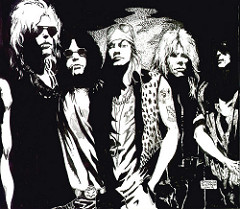 An ink drawing of the original Guns N' Roses lineup by Simone Avella